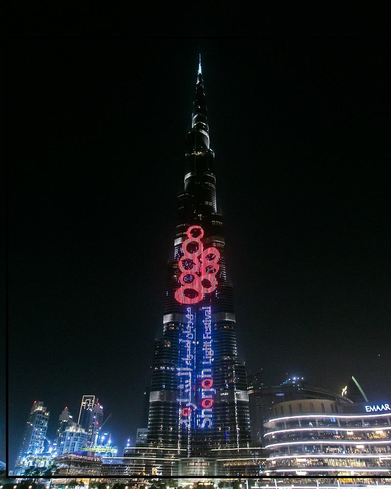 Burj Khalifa Lights Up The Sky For Upcoming Sharjah Event